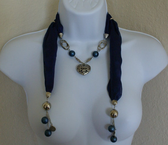 Navy color silk scarf necklace , belt with heart shape  pendant