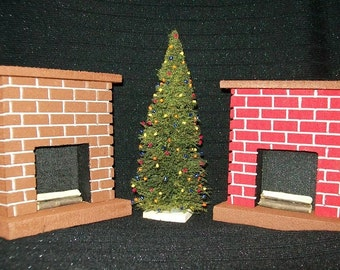 Miniature Fireplace With Real Firewood / Great for Doll House Collections, Table Centerpiece & Christmas Displays