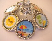 Summertime Wine Charms, Beach theme charms, Wine Glass Charms, Wine Charms, Bottlecap wine charm
