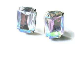 Vintage Rhinestone Earrings Aurora BorealisLarge Bridal Wedding Jewelry 1950s