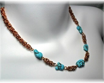 Chain Maille Necklace-Bronze Wire - Turquoise Chunks - Hand Crafted by Chicartistique