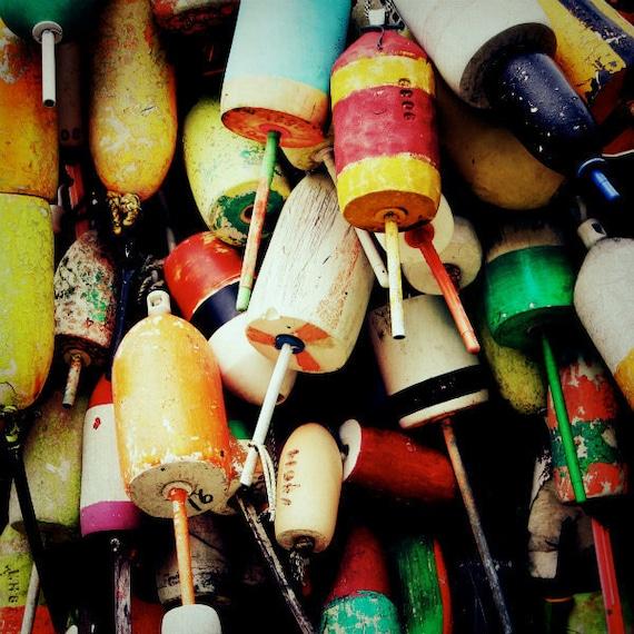 nautical, buoy photograph, maine, beach house, decor, lobster, art, bright, beach photography, beach decor - buoys I, 8x8 photograph