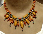 YELLOW JASPER, Agate, Czech Glass, Wooden Beads Copper Necklace, Wire Wrapped, 2 Strands, Southwestern Touch