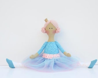 Ballerina doll fabric doll cloth doll stuffed doll softie rag doll  turquoise blue pink Princess - gift for girls
