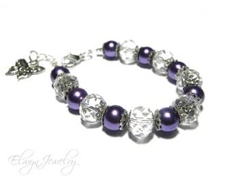 Purple Pearl Bracelet, Little Girl Bracelet, Kids Jewelry, Butterfly Bracelet, Crystal Bracelet, Flower Girl Bracelet, Child Bracelet