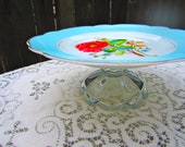 Vintage Wedding Cake Stand Blue and Coral- Floral- Housewarming Gift