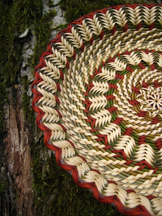 Handwoven wicker plate. Rustic interior home decor. Eco friendly gift. Ethnic table decor.  Green and mahogany red Forest Mandala.
