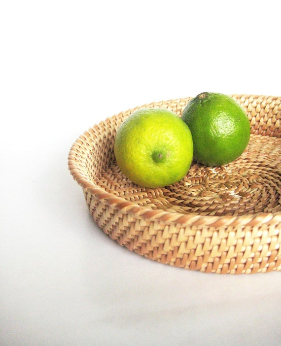 Spring table decor Handwoven wicker plate White wicker basket Kitchen design Eco friendly home decor Gift idea for her Green lifestyle