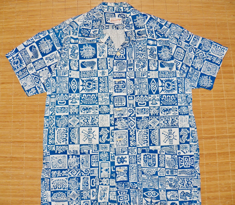 mens vintage mod vintage s la casa de josefa tribal aztec tiki hawaiian cabana shirt l the hana shirt co