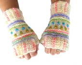 Hand knit embroidered fingerless gloves