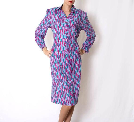 Vintage 70s Multi color knee Length Dress