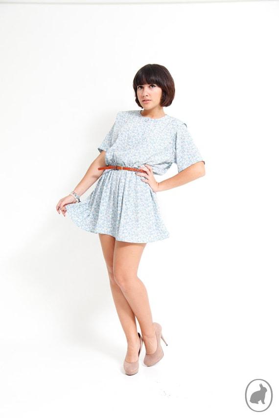 Vintage 80s Floral Prairie Dress - Baby Blue Mini Dress - Summer Dresses - Indie Fashion