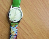 "Hand Painted Leather Band Wrist Watch ""Don't Be Sour"""