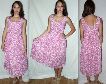 Vintage Floral 80s Dress  Midi Romantic Garden Tea Party Sleeveless Sundress Alice in Wonderland  Bow back Detail / XS S