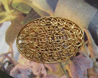Vintage Oval Filigree Stampings Gold Plated Steel Ornate Design 2 Pcs.