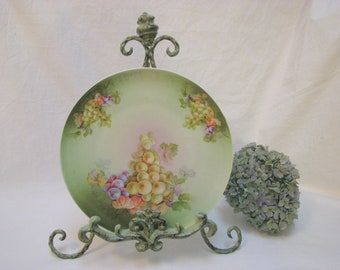 Autumn Grapes Limoges French Plate Porcelain