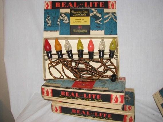 Art Deco Christmas Lights Bakelite Sockets Real-Lite NOMA 3 Boxes