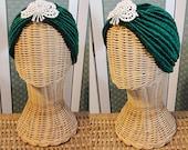 Handmade embroidered turban hat headband vintage style