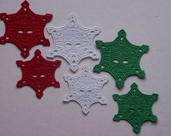 Lace Skull Flakes--Set of 6 in Holiday Colors