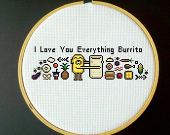 Adventure Time Cross Stitch PDF Pattern - I Love You Everything Burrito