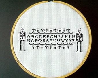 ParaNorman Skeleton Alphabet Sampler Cross Stitch PDF Pattern