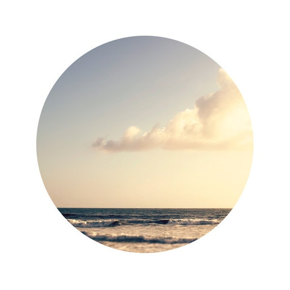 """Seaside Beach Photography / lonely cloud sky serene shore dreamy pastel summer pale blue pink / 8x10 circle photograph print / """"Flying Solo"""""""