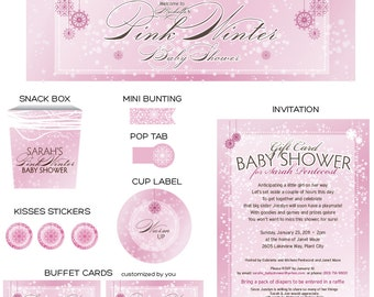 Pink Winter Party Printables - Complete Print It Yourself Package