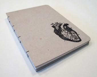 Valentine's Anatomical Heart Handmade Journal Notebook: Hardbound Coptic Book