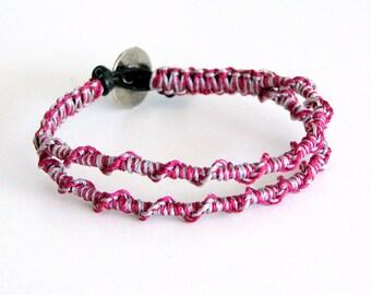 Macrame Friendship Bracelet with Black Leather - Jacky Bracelet