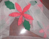 Vintage Holiday Christmas Poinsettias and White Tulle Tablecloth, Christmas Linens, Vintage Linens, Vintage Tablecloth