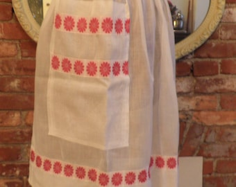 1950's Sheer White with Red Flowers Vintage Apron, Vintage Apron, Vintage  Housewife