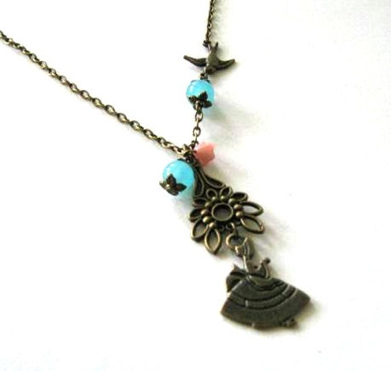 Reading Earrings: Reading Victorian Lady Necklace Sparrow Jewelry Blue Stone