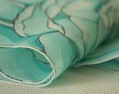 turquoise and aqua rose shaped round hanky