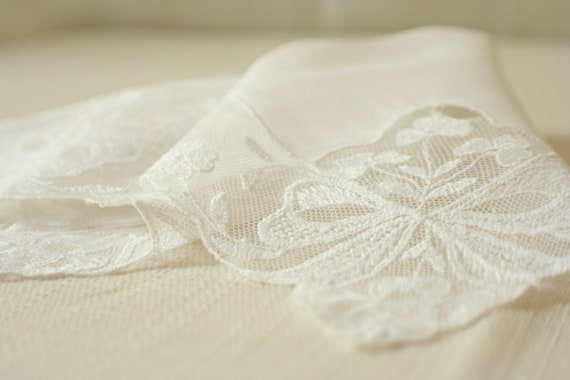 white wedding hanky with netted lace