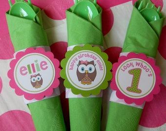 12 Look Whoo's One Birthday Party Paper Napkin Rings in Pink and Green