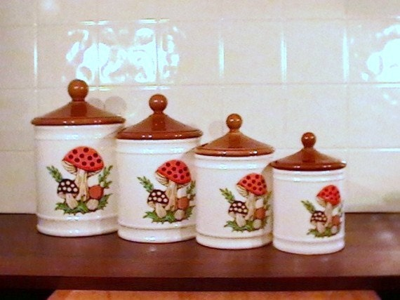 "Canister Set of Four  ""Merry Mushroom Collection""  Ceramic  Sears  1982  Retro Kitchen"
