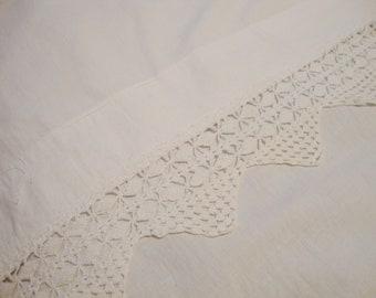 French Linen Sheet White Bed Sheet Antique Hand Crocheted Trim Bedding Flat Sheet