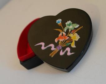 Heart Shaped Jewellery Box with Iris Motif.