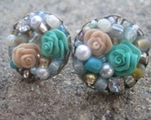 Teal and light Beige Rose Stud Earrings