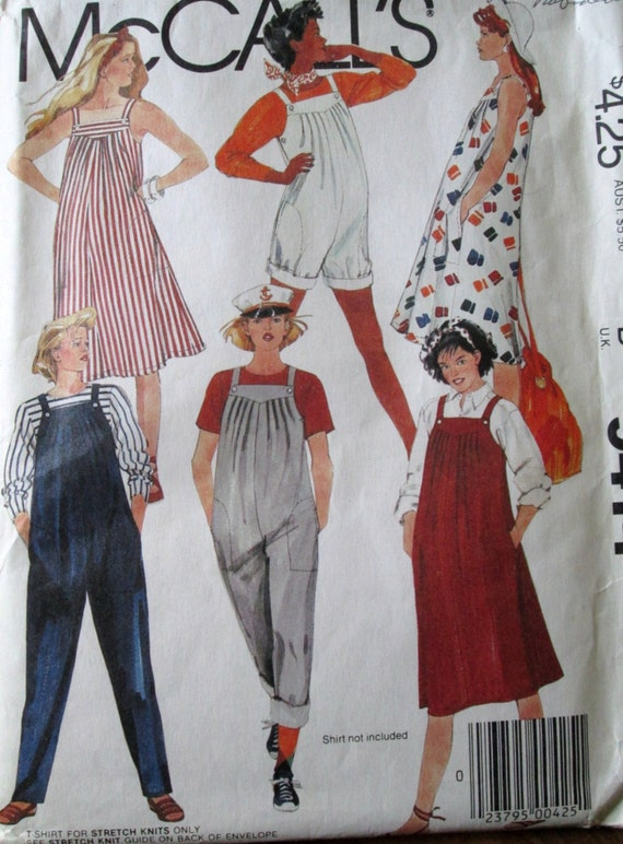 overalls - jumper - t shirt - sewing pattern - McCall's 9414 - maternity - size8