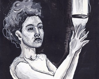 girl with chalice - female portrait - woman - black and white - original illustration