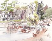 Waterloo Original Landscape Watercolor Sketch