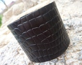 Black Leather Bangle/Cuff Bracelet . Unisex
