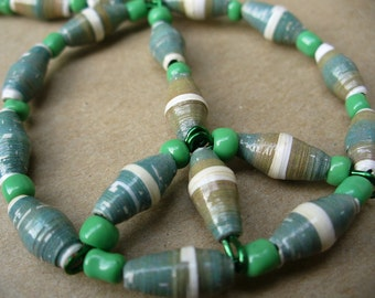 Green paper bead peace necklace ~ Reduced