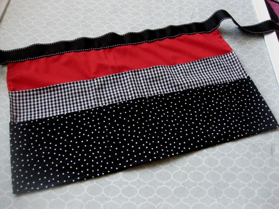 Classroom Apron- Black and White Polka Dots