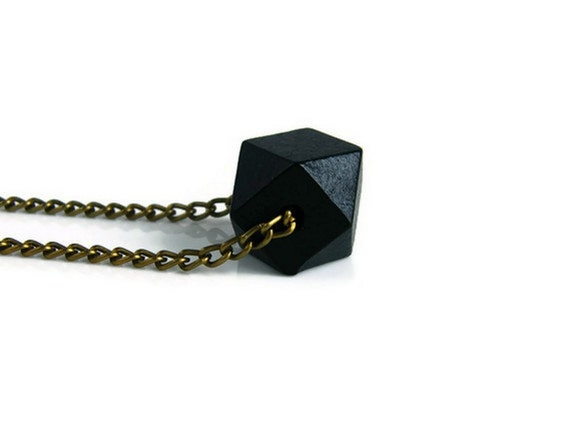 Wooden Necklace Geometric Jewelry Black Faceted Pendant with brass chain Boho Minimalist Necklace