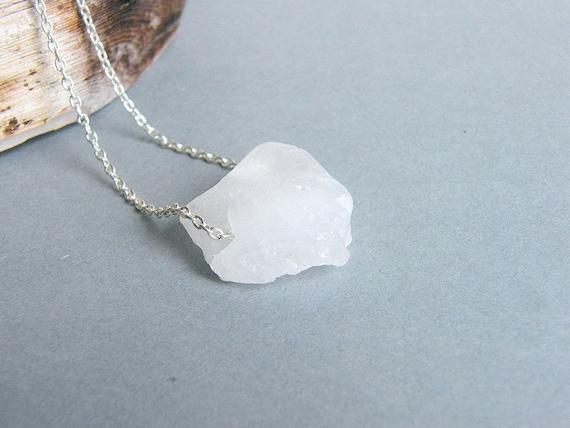 CLEARANCE - all must go, White Quartz Necklace Rough Raw Nugett Stone Bohemian Minimalist Jewelry Summer Fashion