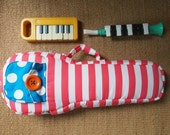 SALE - Ready to ship - Bloom - Pastel  cherry red and white stripe ukulele bag (Soprano Size)