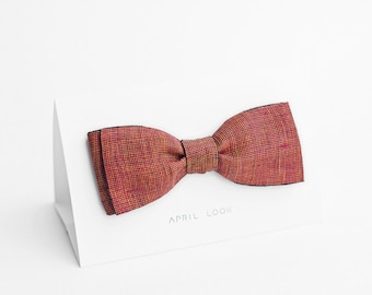 Men's red bow tie with orange and black - double sided