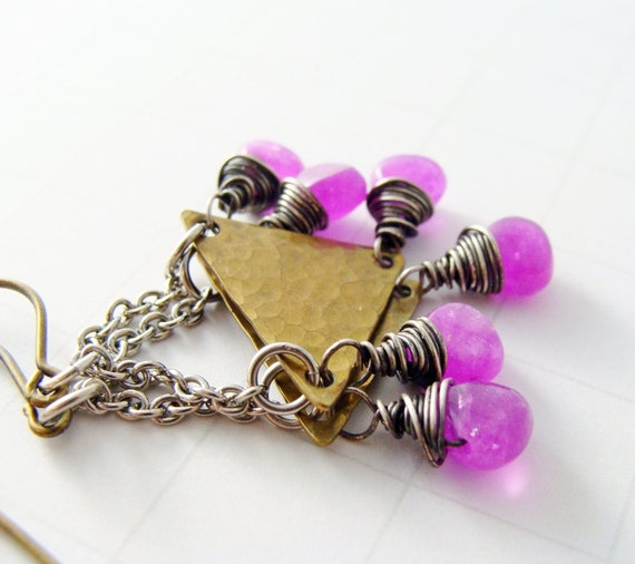 Modern Metalwork Brass Hammered Triangle Earrings Silver Chain Wire Wrapped Fuchsia Pink Purple Jade Gemstones